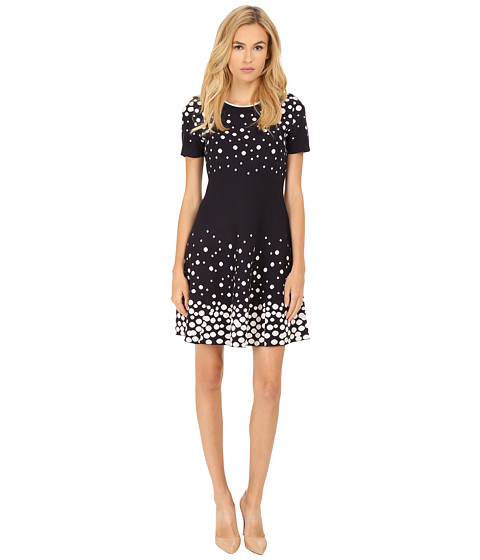 Kate Spade New York - Scattered Dot Sweater Dress (Ink/Ballerina Pink) Women's Dress