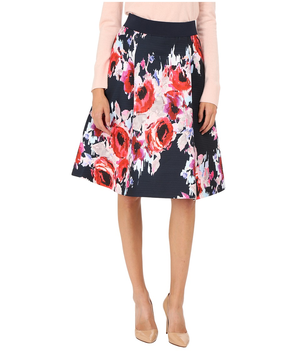 Kate Spade New York - Hazy Floral Midi Skirt (Ink Multi) Women's Skirt