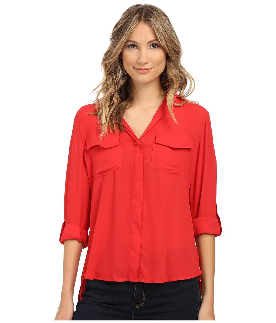 Sam Edelman - Riley Solid Split Back Top with Zipper Detail (Crimson) Women's Clothing