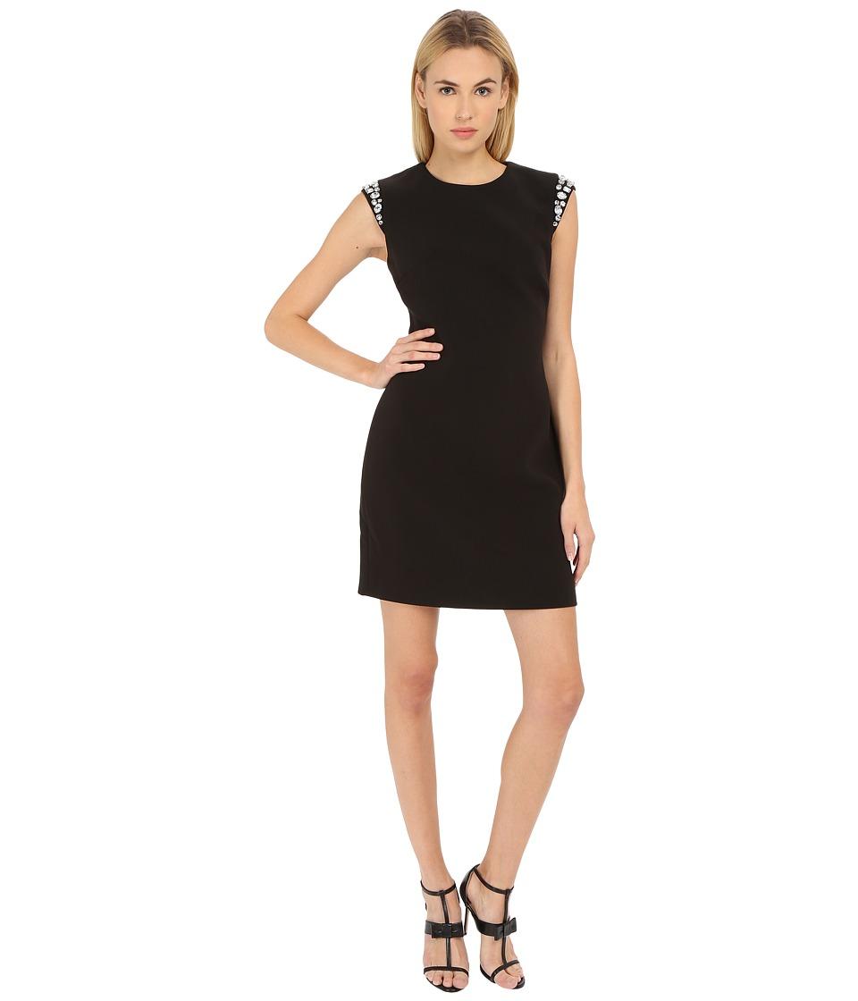 Kate Spade New York - Embellished Sleeve Crepe Dress (Black) Women's Dress