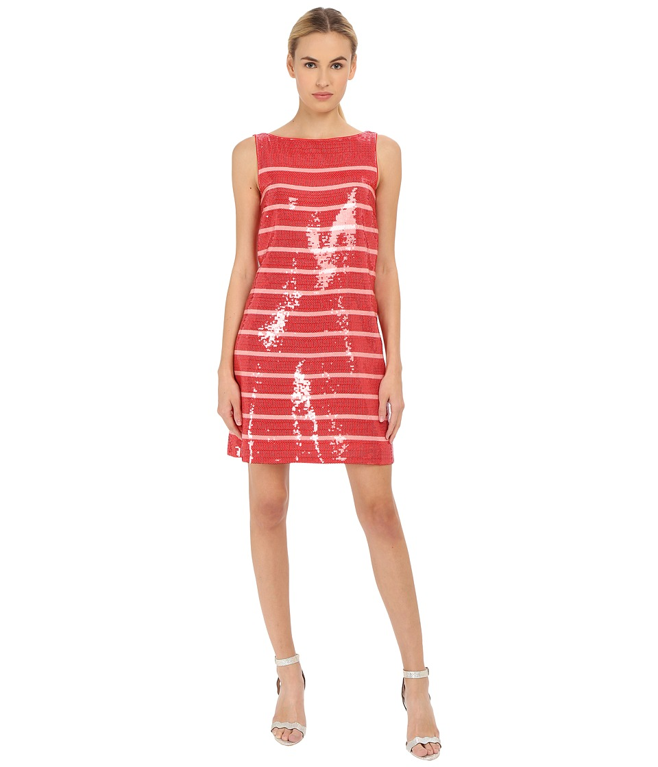 Kate Spade New York - Sleeveless Sequin Stripe Dress (Fairytale Red/Pastry Pink) Women's Dress