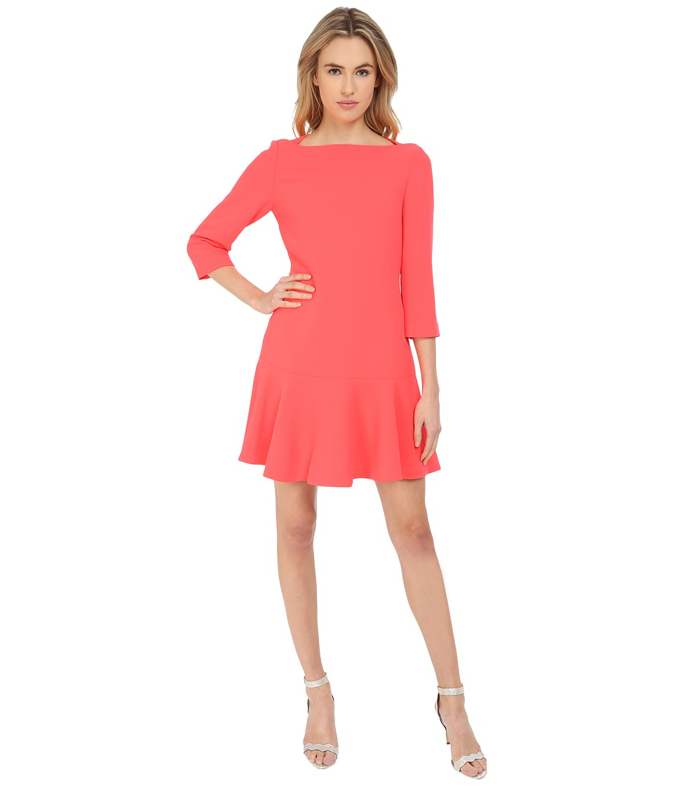 Kate Spade New York - Crepe Flounce Dress (Geranium) Women's Dress
