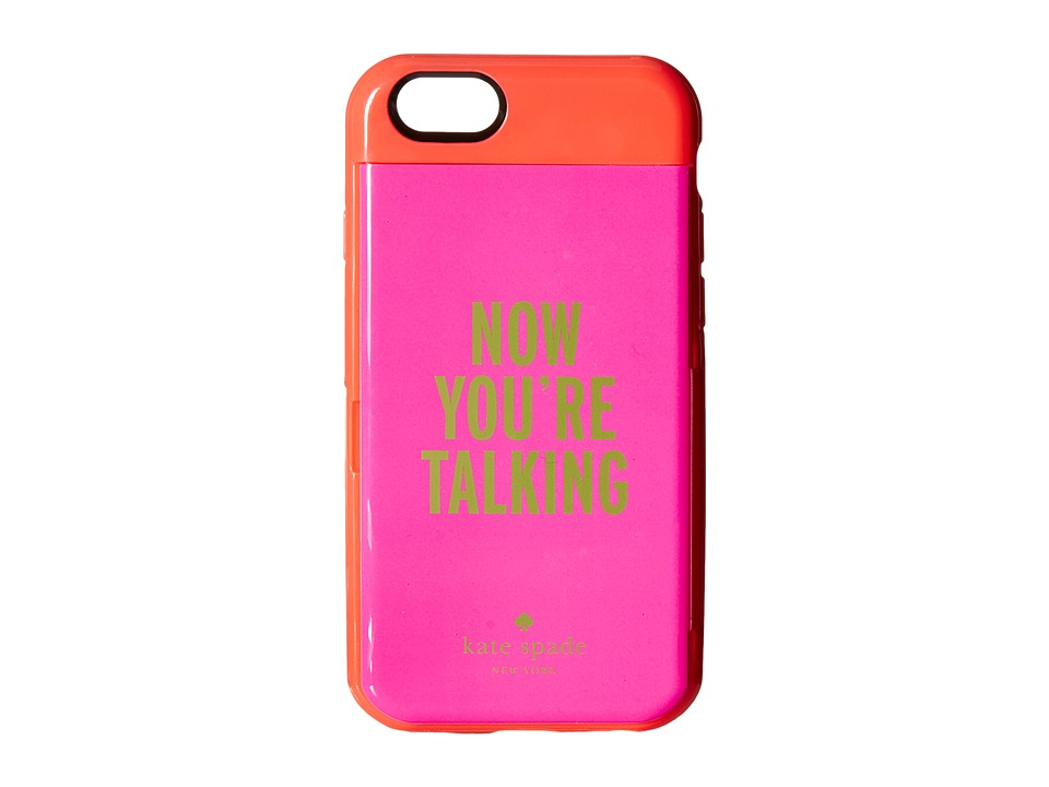 Kate Spade New York - Now You'Re Talking Resin Stowaway Phone Case for iPhone 6 (Geranium/Vivid Snapdragon) Cell Phone Case