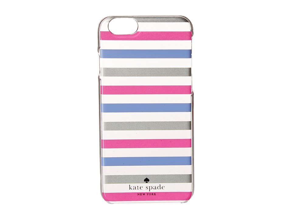 Kate Spade New York - Watch Hill Stripe Resin Phone Case for iPhone 6 (Silver/Vivid Snapdragon/Deep Violet) Cell Phone Case