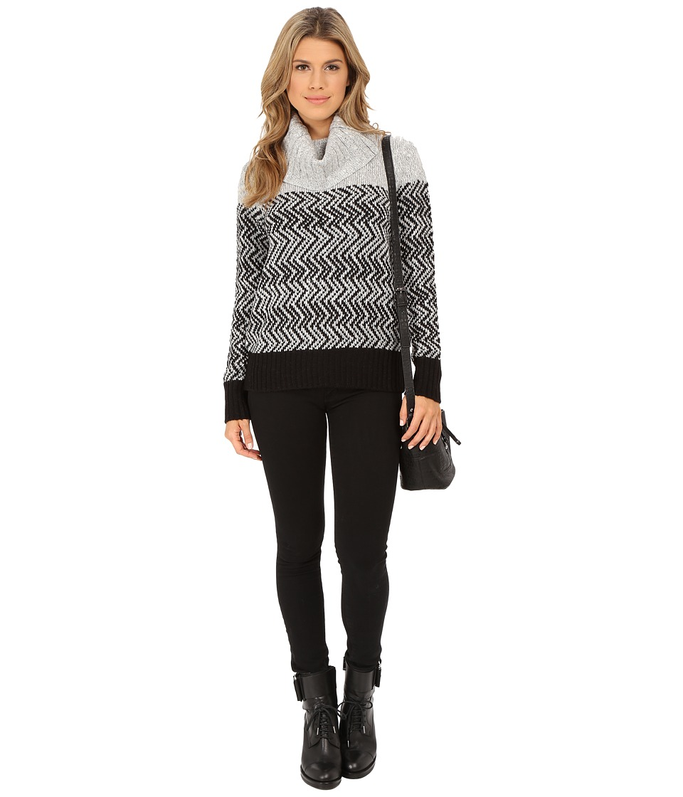 ONLY - Imara Long Sleeve Rollneck Knit Pullover (Black/Grey Stripe) Women's Long Sleeve Pullover