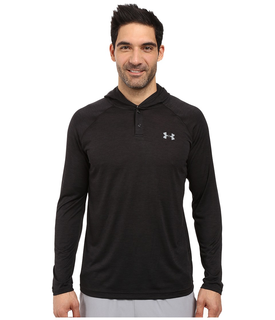 Under Armour - UA Techtm Popover Henley (Black/Steel 1) Men's Long Sleeve Pullover