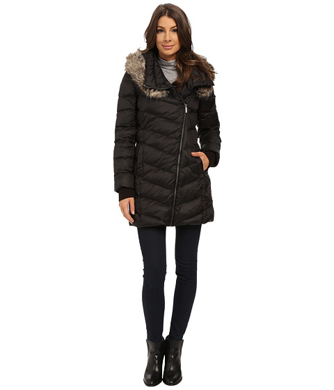 French Connection - Drape Front Puffer Coat w/ Fur Trim (Black) Women