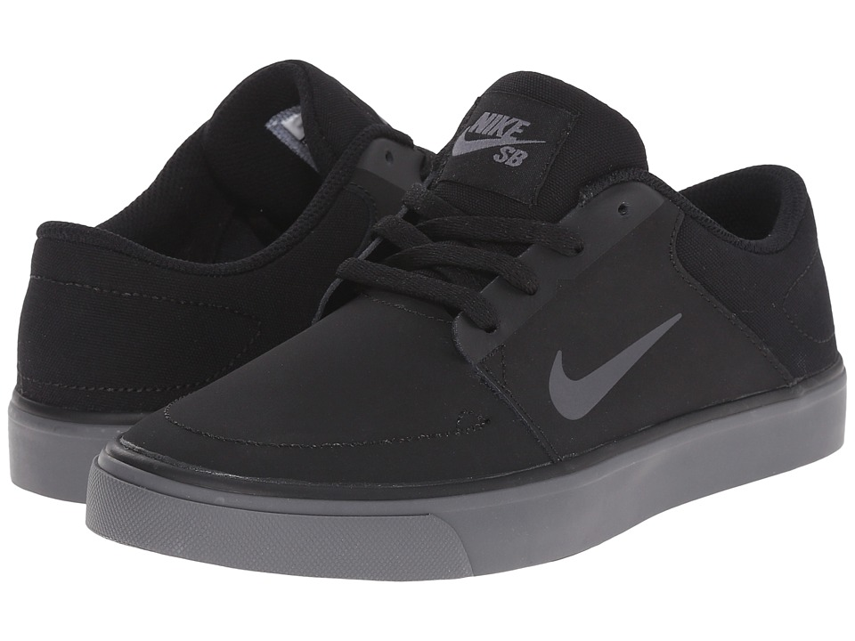 Nike SB Kids - Portmore (Big Kid) (Black/Black/Dark Grey) Boy's Shoes