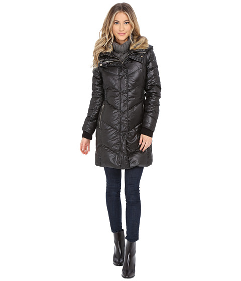 French Connection - Puffer Coat w/ Fur Collar Inside Bib (Black) Women's Coat