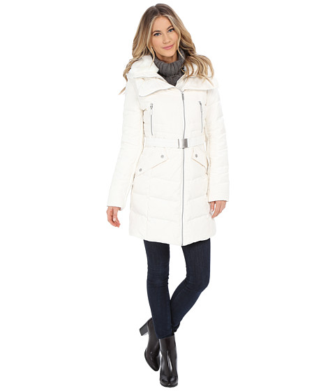 French Connection - Belted Puffer Coat w/ Fur Inside Bib (Winter White) Women
