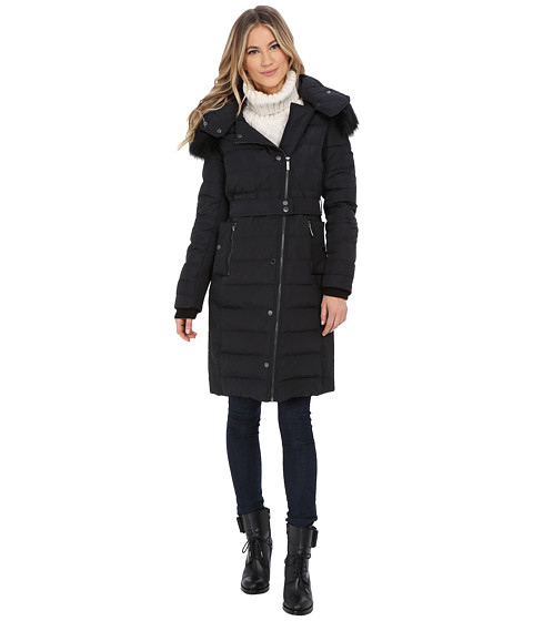 French Connection - Hooded Puffer Coat w/ Belt Snaps (Black) Women's Coat