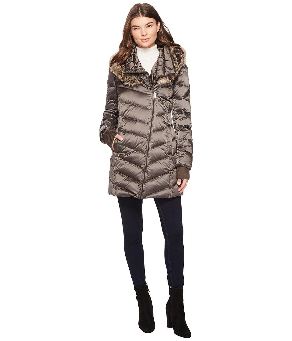 French Connection - Drape Front Puffer Coat w/ Fur Trim (Gunmetal) Women's Coat