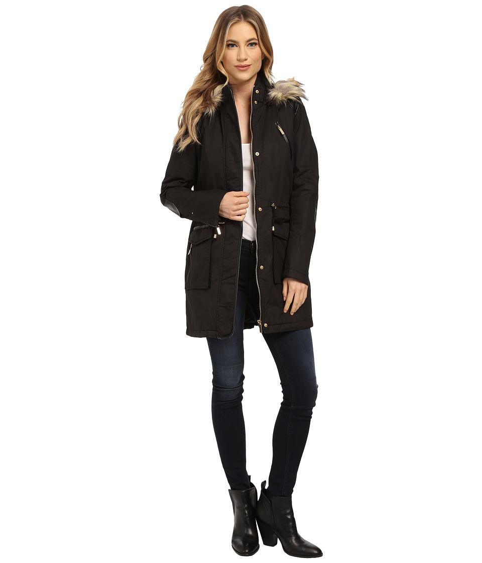 French Connection - Cotton Parka w/ Leather Detail (Black) Women's Coat