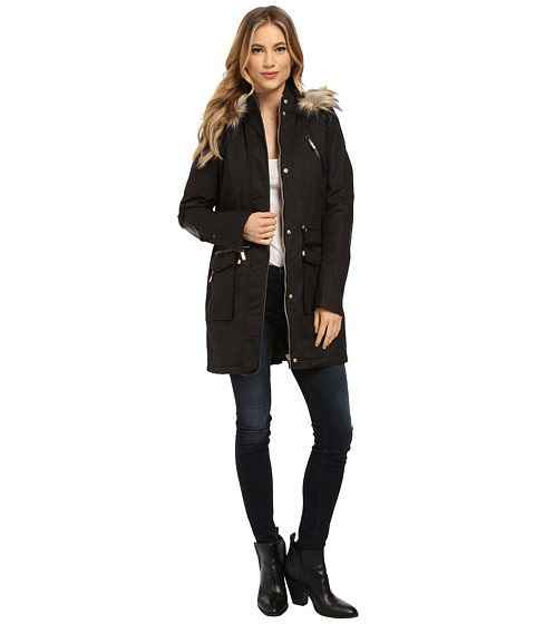 French Connection - Cotton Parka w/ Leather Detail (Black) Women's Coat