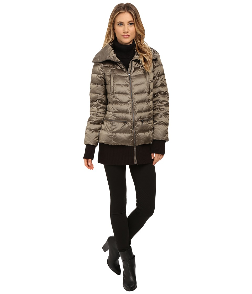 French Connection - Pillow Collar Short Puffer Coat (Taupe) Women's Coat plus size,  plus size fashion plus size appare