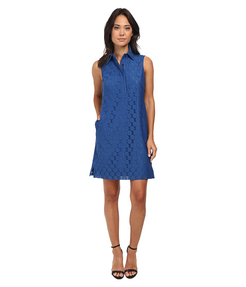 Adrianna Papell - Dot Lace Collared Shirtdress (Marine) Women's Dress