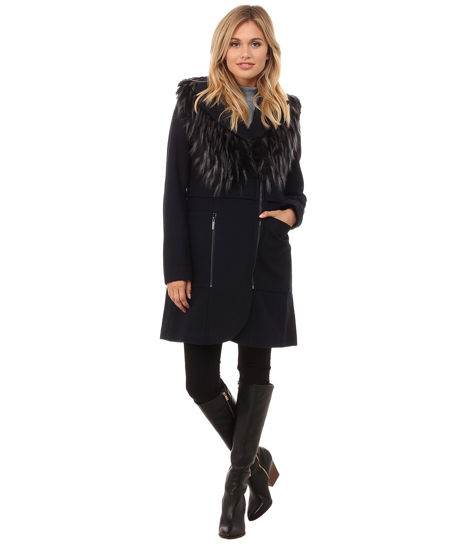 French Connection - Wool Coat w/ Detachable Fur Vest (Navy) Women