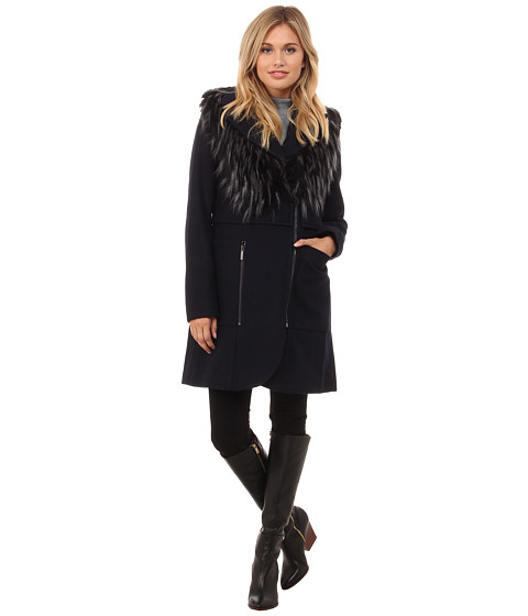 French Connection - Wool Coat w/ Detachable Fur Vest (Navy) Women's Coat