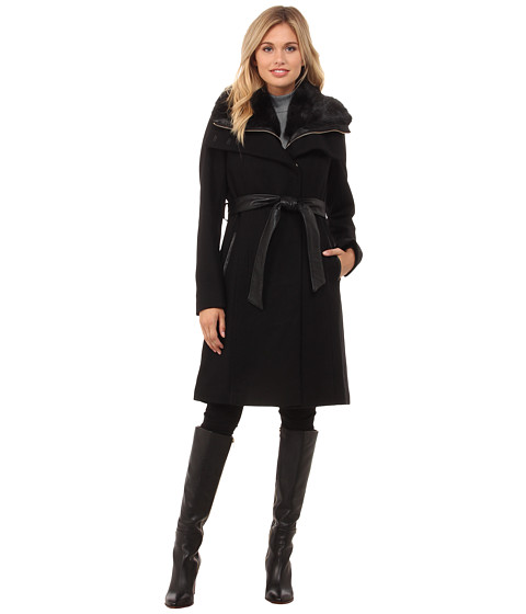 French Connection - Best Seller Zip Out Vest w/ Fur Collar (Black) Women's Coat