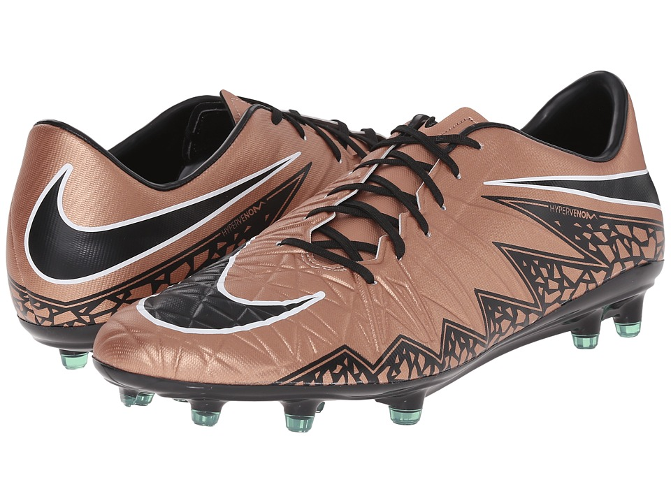 Nike - Hypervenom Phatal II FG (Metallic Red Bronze/Green Glow/Black) Men's Soccer Shoes