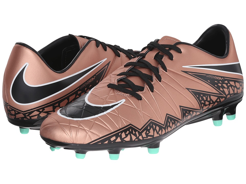 Nike - Hypervenom Phelon II FG (Metallic Red Bronze/Green Glow/Black) Men's Soccer Shoes