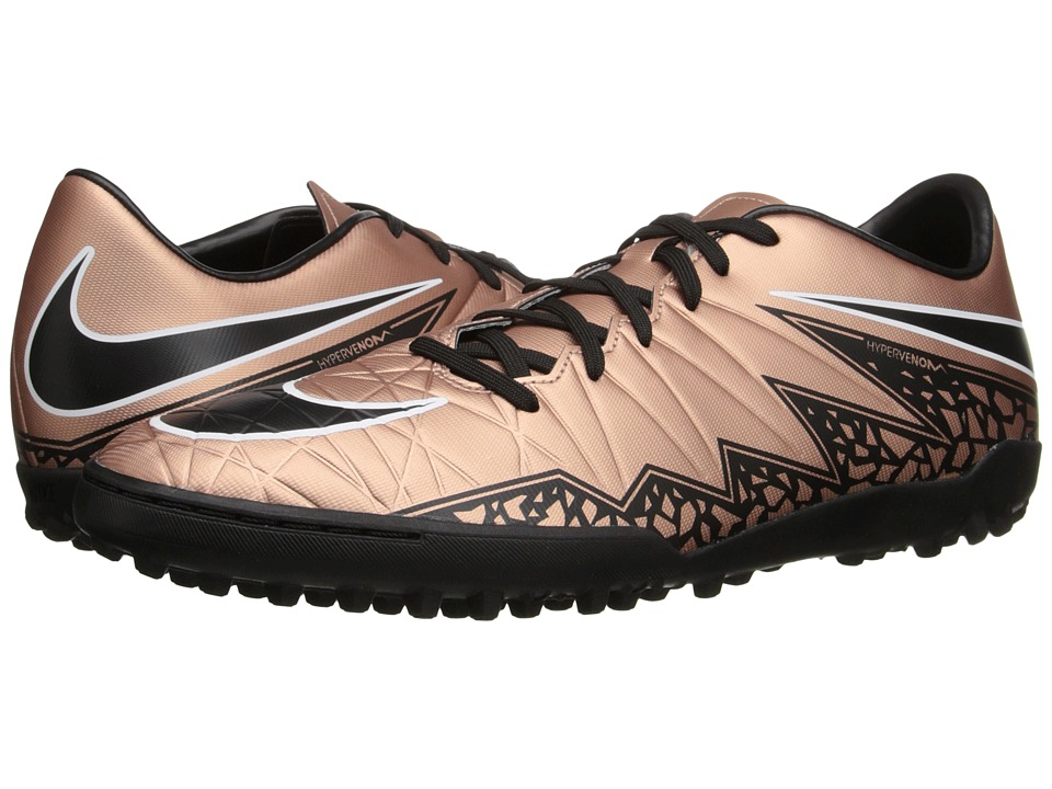 Nike - Hypervenom Phelon II TF (Metallic Red Bronze/Green Glow/White/Black) Men's Soccer Shoes