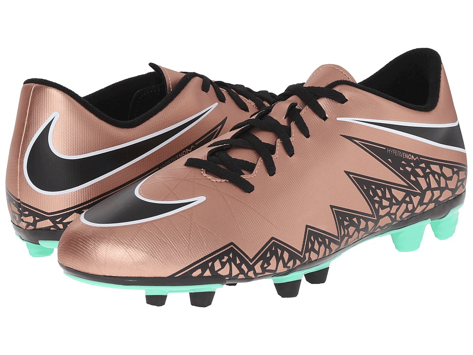 Nike - Hypervenom Phade II FG (Metallic Red Bronze/Green Glow/Black) Men's Soccer Shoes