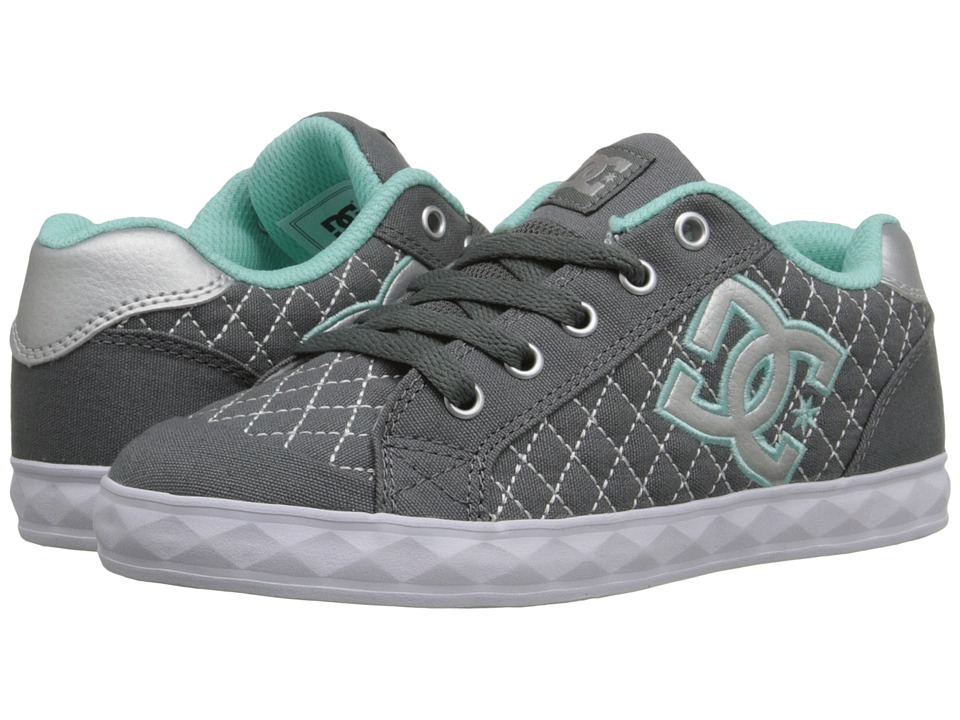 DC Kids - Chelsea Stud (Little Kid) (Grey/Blue) Girls Shoes