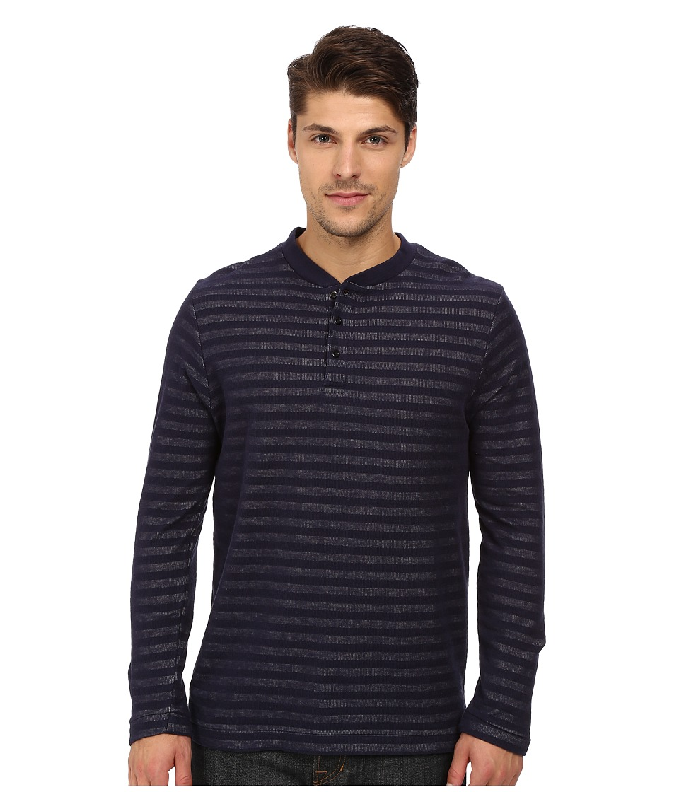 London Fog - Crew Neck Plated Jersey Knit (Harbor Navy) Men's Clothing