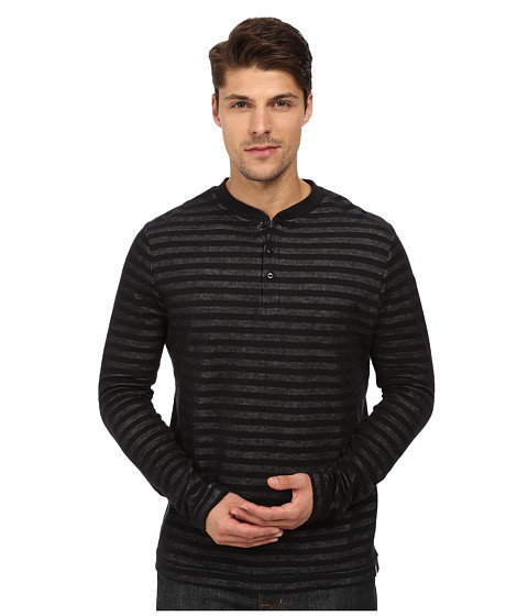 London Fog - Crew Neck Plated Jersey Knit (Real Black) Men