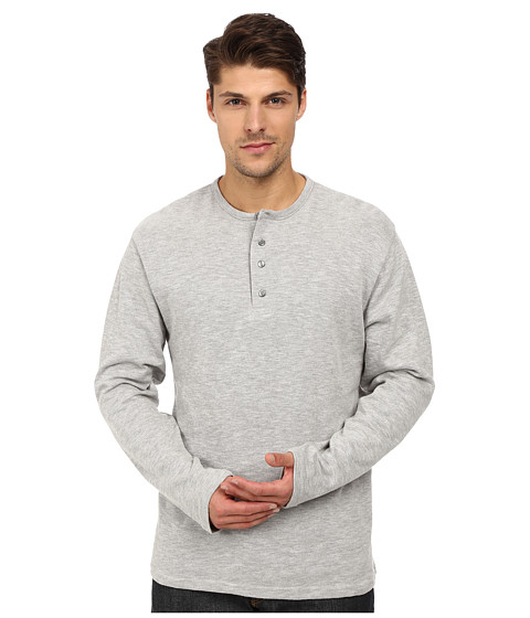 London Fog - Crew Heavy Thermal Henley (Grey Heather) Men