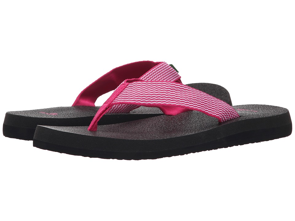 Sanuk - Yoga Mat Webbing (Fuchsia/White) Women's Sandals