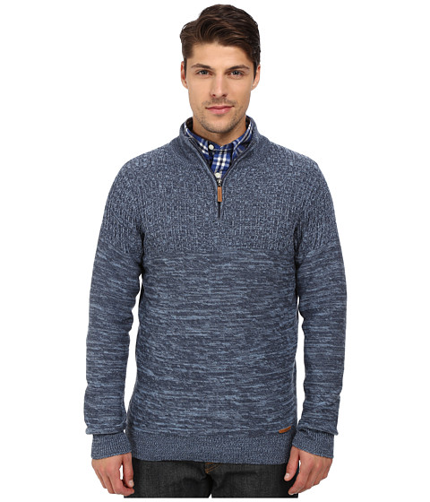 London Fog - 1/4 Zip Marled Textured Sweater (Dark Denim Heather) Men