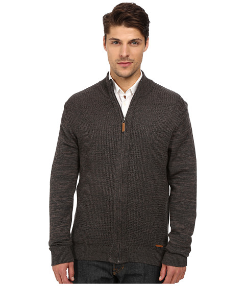 London Fog - Full Zip Textured Sweater (Overcast Heather) Men's Sweater
