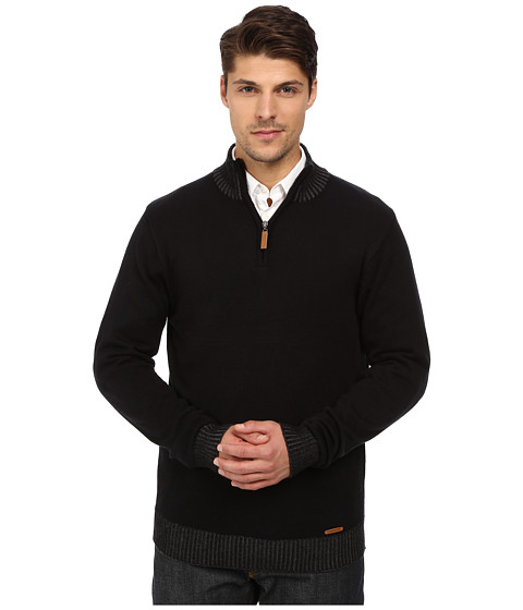 London Fog - 1/4 Zip Rib Collar Sweater (Real Black) Men