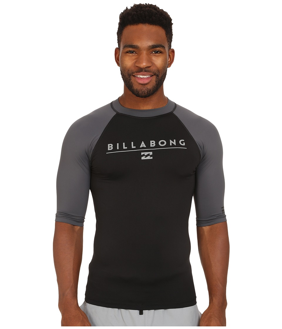 Billabong - All Day Raglan Short Sleeve Rashguard (Black) Men's Swimwear
