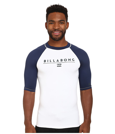 Billabong - All Day Raglan Short Sleeve Rashguard (White) Men's Swimwear