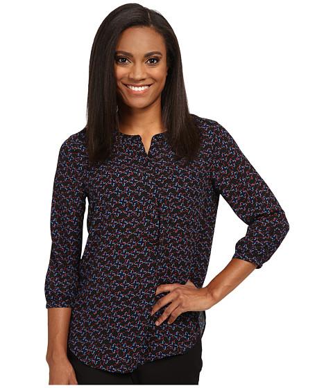 NYDJ Petite - Petite Solid 3/4 Sleeve Pleat Back (Kumquat Print) Women's Long Sleeve Pullover