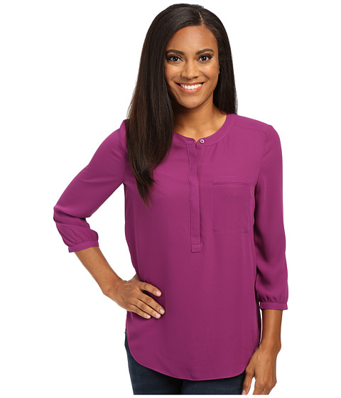 NYDJ Petite - Petite Solid 3/4 Sleeve Pleat Back (Violet) Women's Long Sleeve Pullover