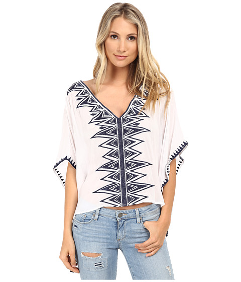 Brigitte Bailey - Beth Butterfly Arm Top (Ivory/Navy) Women's Clothing