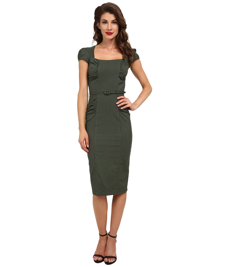 Stop Staring! - Verdant Dress (Olive Houndstooth) Women's Dress