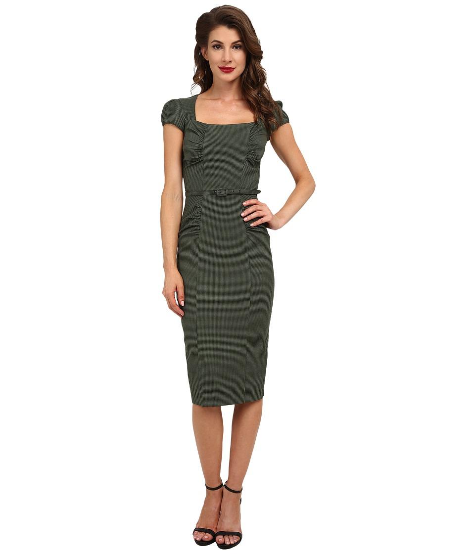 Stop Staring! Verdant Dress (Olive Houndstooth) Women