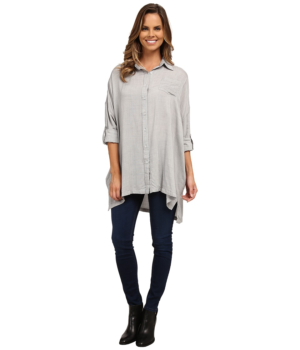 Brigitte Bailey - Renee Oversized Button Up Top (Grey) Women's Clothing