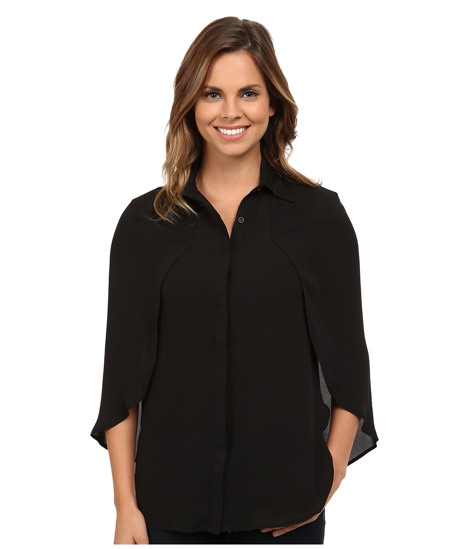 Brigitte Bailey - Paula Cape Button Up Top (Black) Women's Blouse