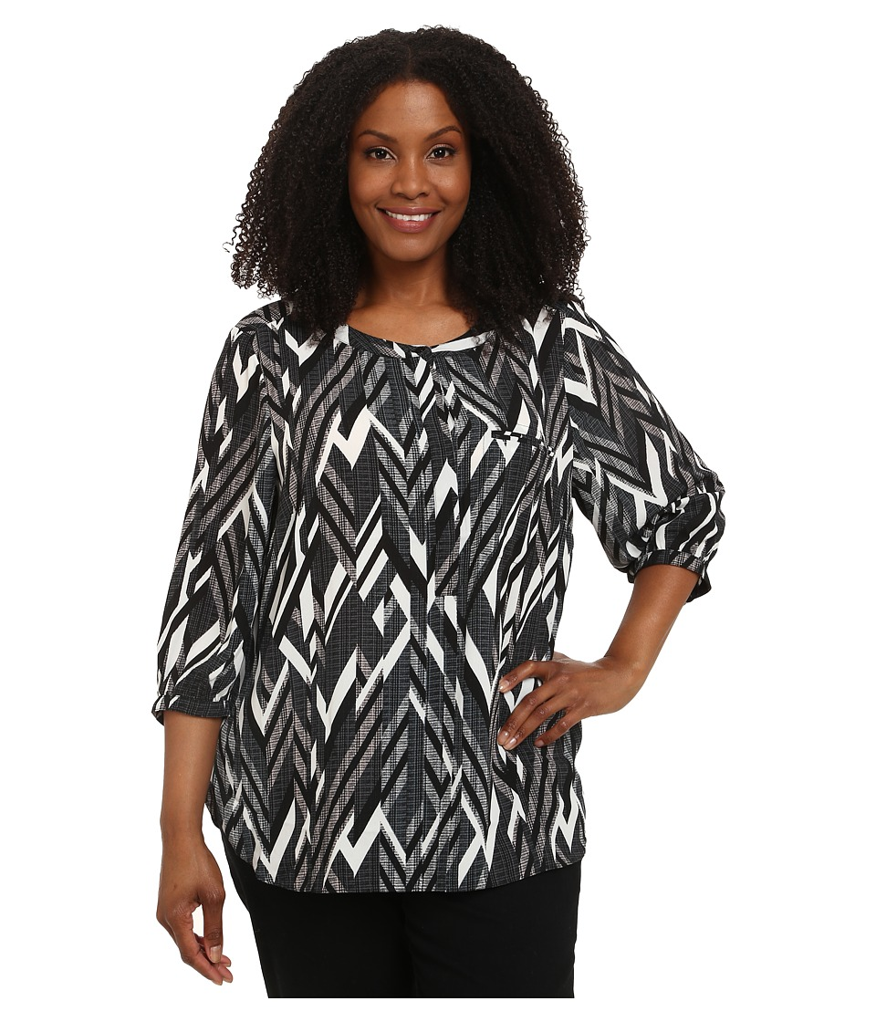 NYDJ Plus Size - Plus Size Solid 3/4 Sleeve Pleat Back (Knight Blue Chevron) Women