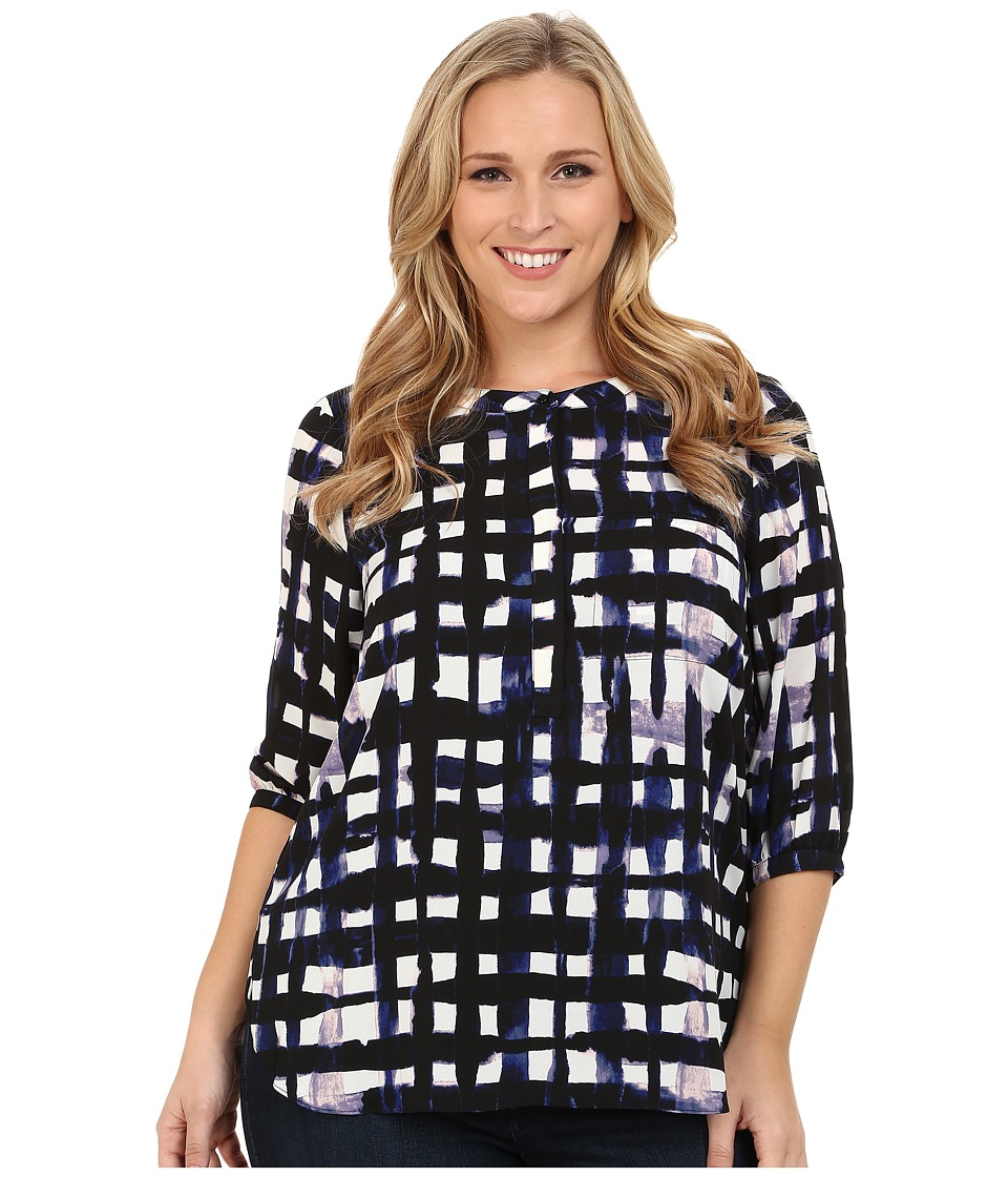 NYDJ Plus Size - Plus Size Solid 3/4 Sleeve Pleat Back (Water Knight Blue Print) Women's Long Sleeve Button Up
