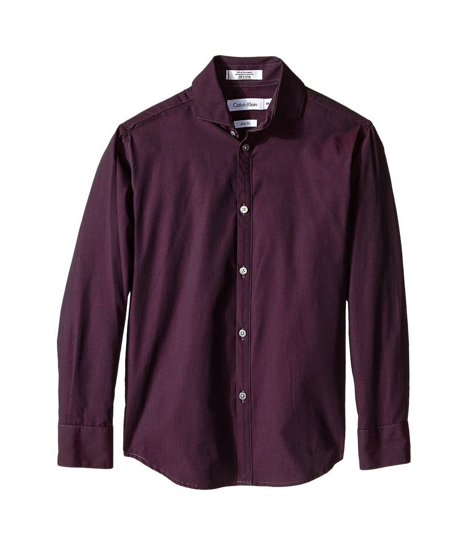 Calvin Klein Kids - Long Sleeve Iridescent Stripe Shirt (Big Kids) (Medium Purple) Boy's Clothing