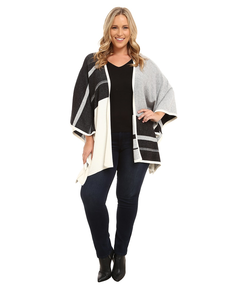 NYDJ Plus Size - Plus Size Colored Block Blanket Sweater (Heather Black) Women's Sweater