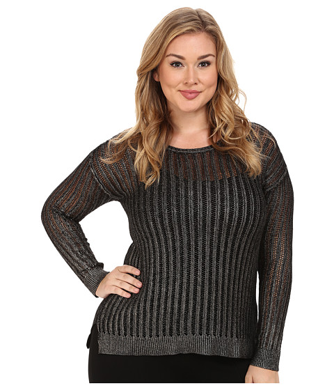 NYDJ Plus Size - Plus Size Metallic Foil Coated Pointelle Sweater (Antique Silver) Women