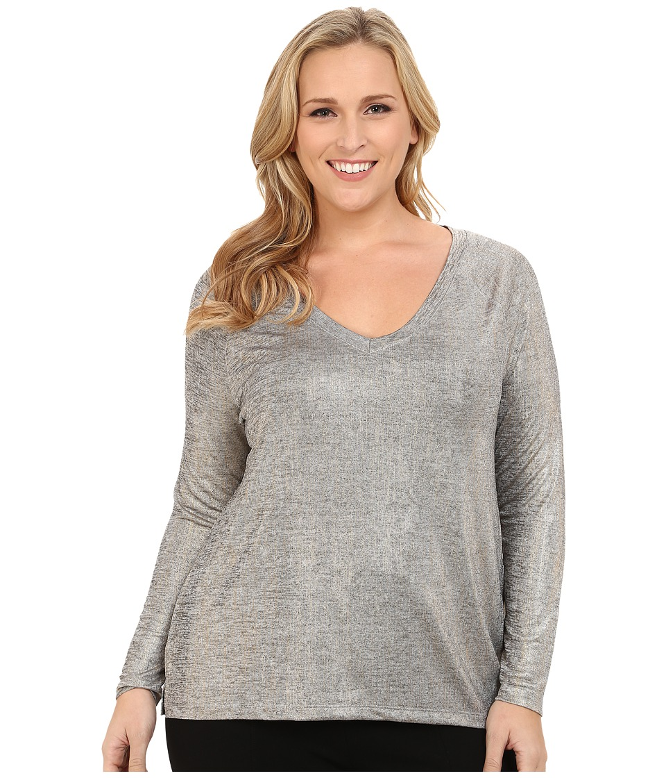 NYDJ Plus Size - Plus Size V-Neck Metallic Jersey Tee (Gold) Women